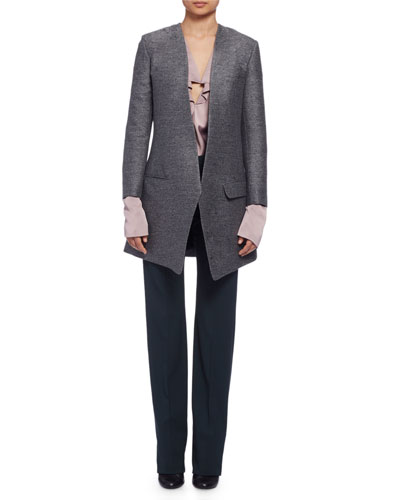 Long Heathered One-Button Jacket, Long-Sleeve Cascading Ruffle Blouse & Slim Stretch-Wool Trousers