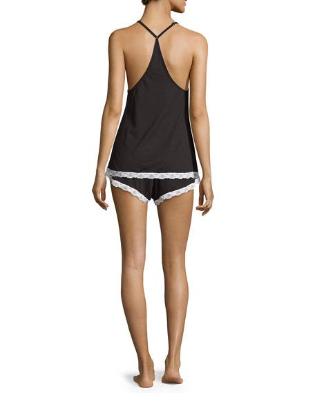 Majestic Lace-Trim Camisole, Black/White