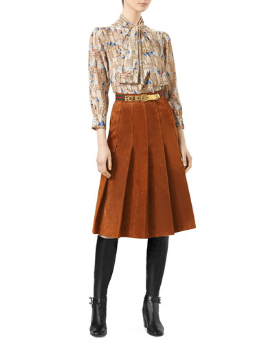 Fortress-Print Silk Shirt & Pleated Suede Skirt with Web Detail