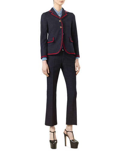 Polka-Dot Cotton Wool Jacket, Silk Ruffled Shirt & Polka-Dot Cotton Wool Ankle Pants