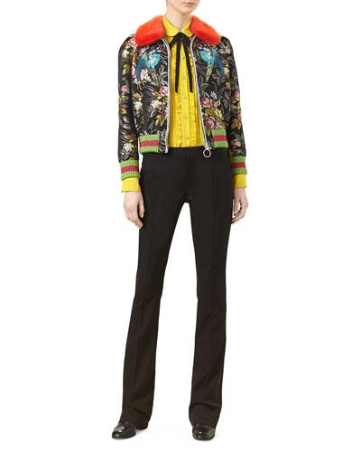 Romantic Bouquet Silk Jacquard Bomber with Mink Fur Collar & Pleated Silk Satin Shirt
