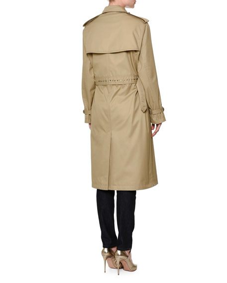 Woven Double-Breasted Rockstud Trenchcoat, Beige