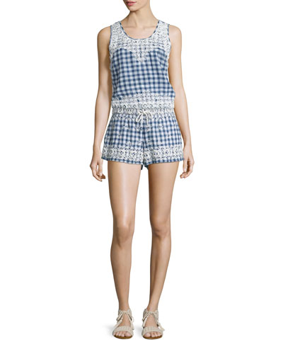 Yunes Embroidered Check-Print Top & Junia Embroidered Check-Print Shorts