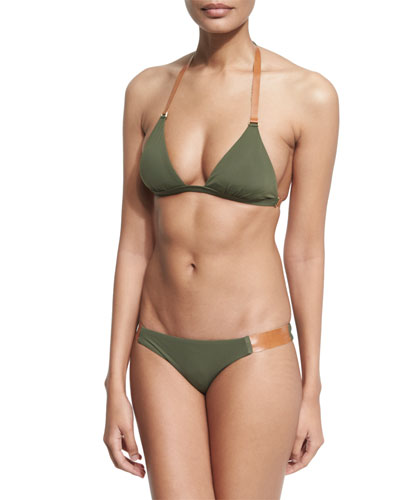 Leather-Strap Halter Swim Top, Available in Extended Cup Size & Swim Bottom