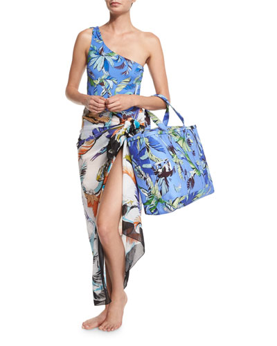 Jungle-Print One-Shoulder Swimsuit, Jungle-Print Voile Pareo Coverup & Jungle-Print Canvas Tote Bag,