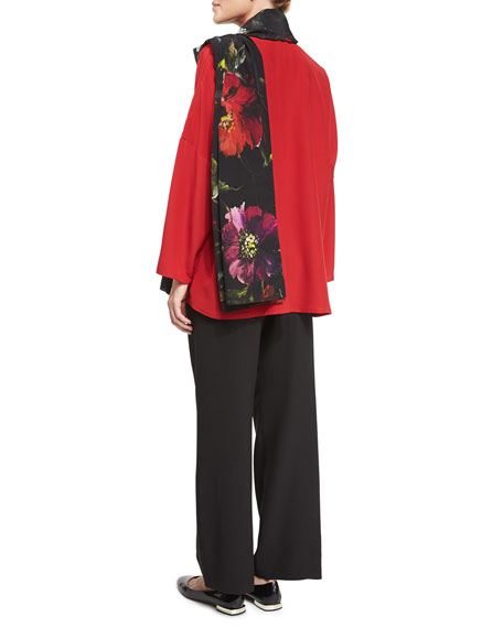 Silk Mandarin-Collar Blouse, Ruby