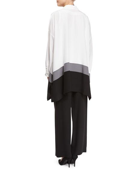 Colorblock A-Line Silk Top, White