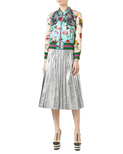 Embroidered Rose-Print Bomber & Metallic Leather Plissé Skirt