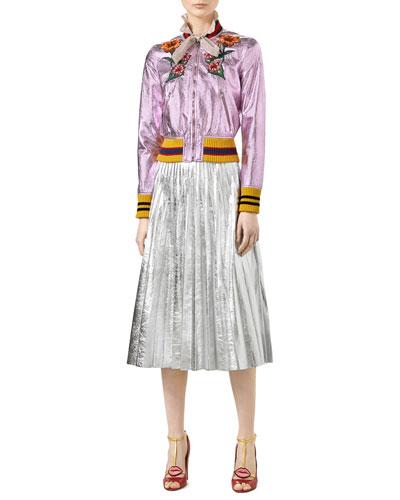 Rose Cracklé Metal Leather Bomber, Button-Front Lurex® Blouse & Metallic Leather Plissé Skirt