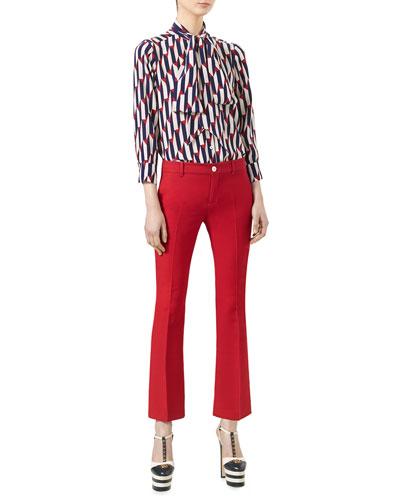 Arrow-Print 3/4-Sleeve Shirt & Wool-Silk Ankle Pants