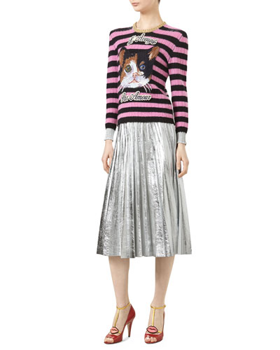 Cat Embroidered Knit Top & Metallic Leather Plissé Skirt