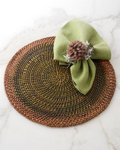 Rattan Placemat, Kimono Napkin, & Winter Pine Cone Napkin Ring