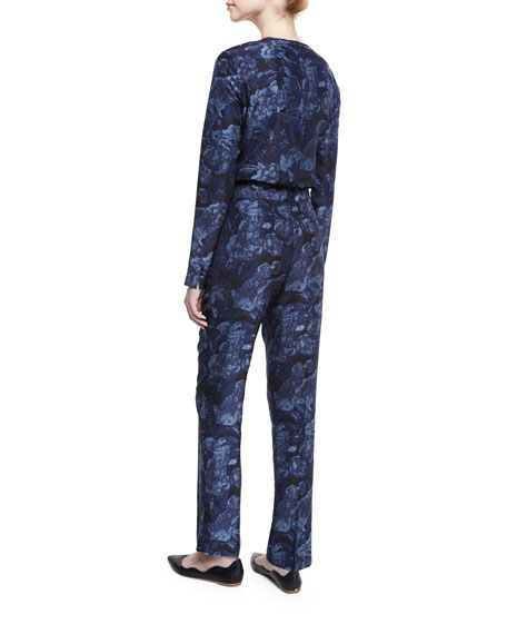 Hawke Floral Silk High-Rise Pants, Royal/Black
