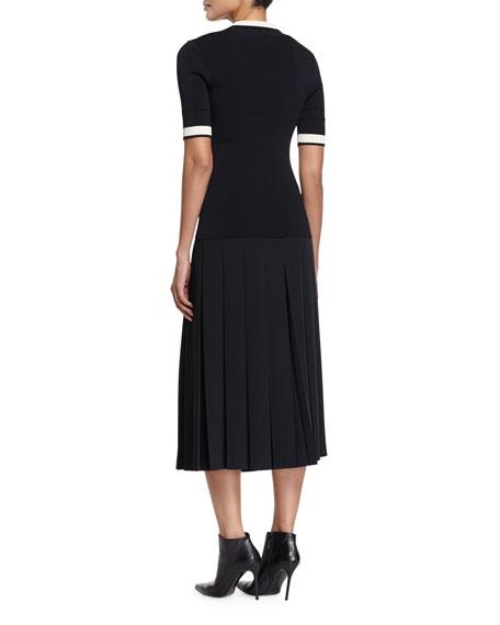 Short-Sleeve Contrast-Striped Ribbed-Knit Polo, Black/Bone