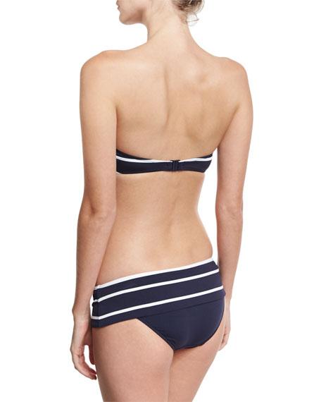 Castaway Stripe Bustier Bandeau Swim Top, Blue