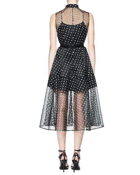 Tolka Sleeveless Organza Dot Dress, Black