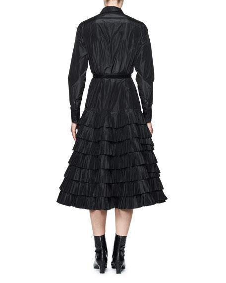 Taftas Silk Taffeta Shirtdress w/Tiered Ruffles, Black