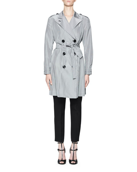 Belted Micro-Check Trenchcoat, White/Black