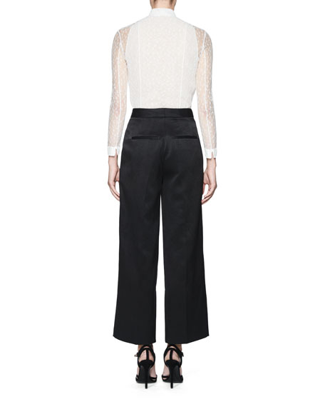 Tentel Lace Button-Front Blouse, White