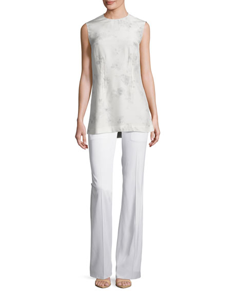 Stretch Flare-Leg Pants, White