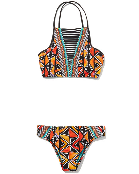 Mozambique Stargazer High-Neck Swim Top, Multicolor