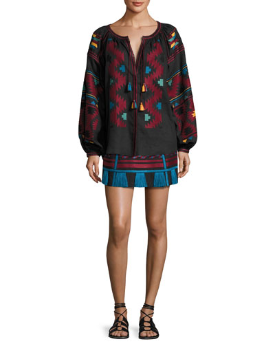 Embroidered Linen A-Line Mini Skirt, Black/Red and Matching Items