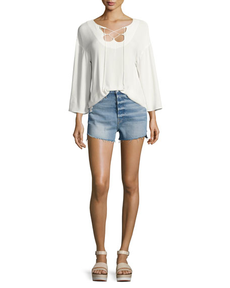 Mirrored Lace-Up Blouse, Off White