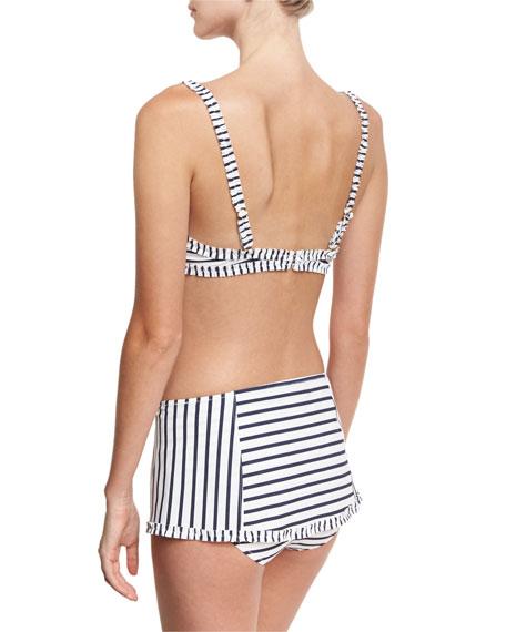 Sail Striped Underwire Swim Top, White/Blue