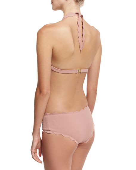 Spring Scalloped Halter Swim Top