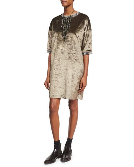 Half-Sleeve Velvet Varsity Dress