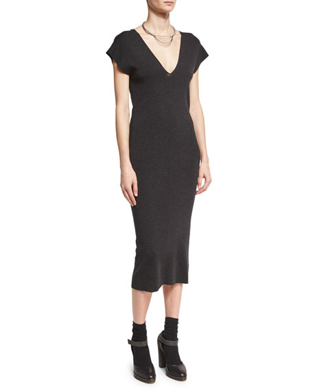 Cap-Sleeve V-Neck Midi Dress, Gray