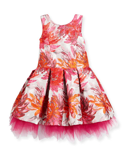 Sleeveless Pleated Floral Brocade Dress, Pink, Size 2-6X and Matching Items