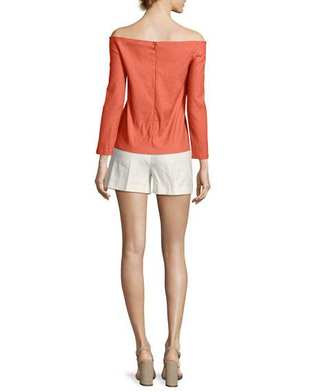 Tarrytown Stretch-Linen High-Waist Shorts