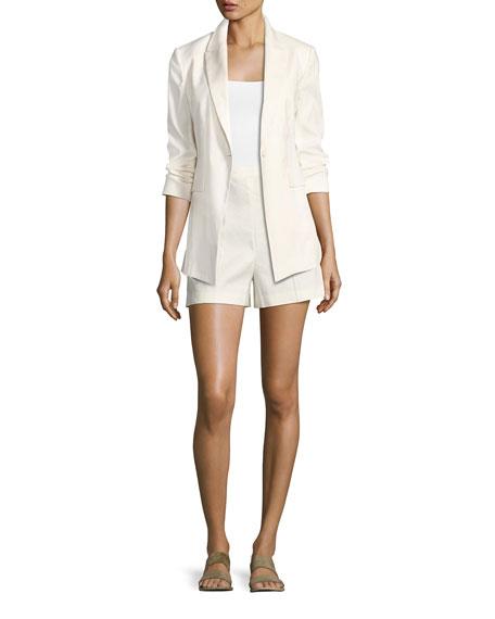 Etiennette Elongated Stretch Linen Blazer, White