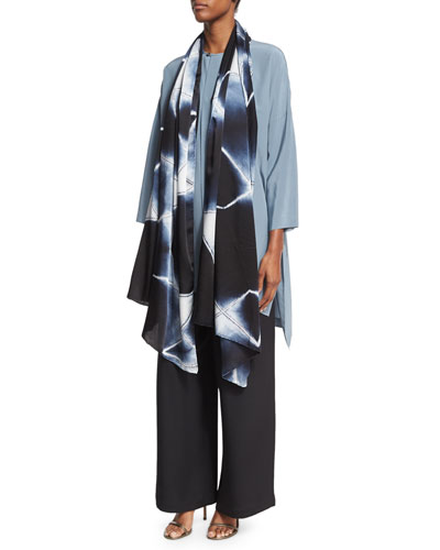 3/4-Sleeve Round-Neck Silk Blouse and Matching Items