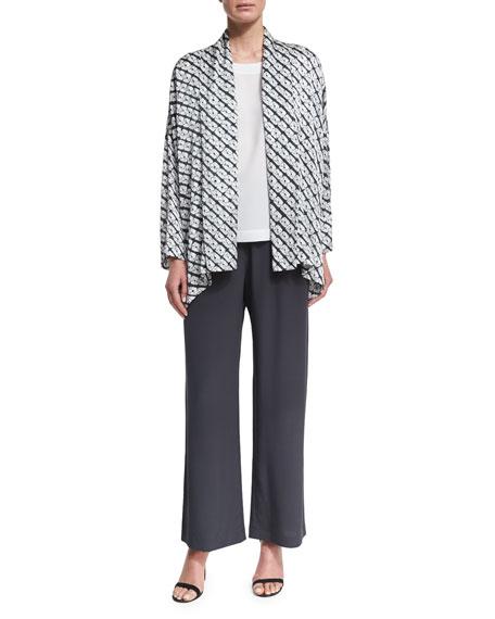 Small Diamond Shibori Shawl-Collar Jacket, Gray