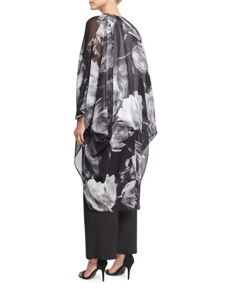 Printed Silk Chiffon Cocoon Coat, Black