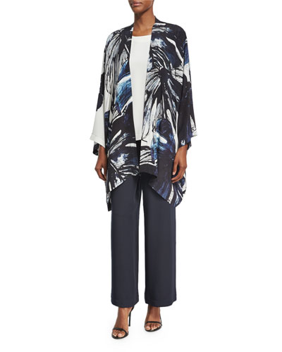 Printed Silk Open-Front Jacket, Navy and Matching Items