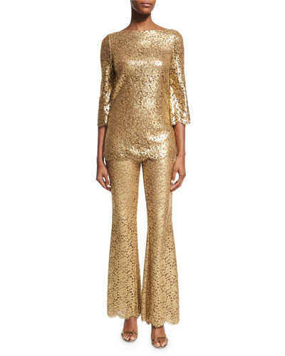 Metallic Floral Lace Pants, Gold and Matching Items