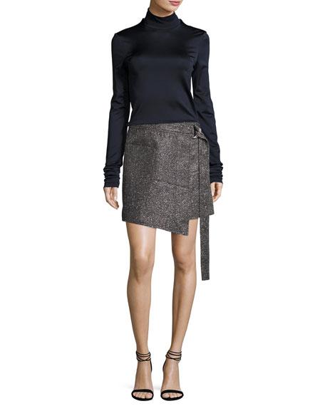 Metallic Wrap-Front Mini Skirt, Silver