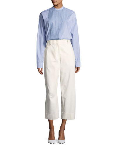 Band-Collar Poplin Blouse, Blue/White and Matching Items