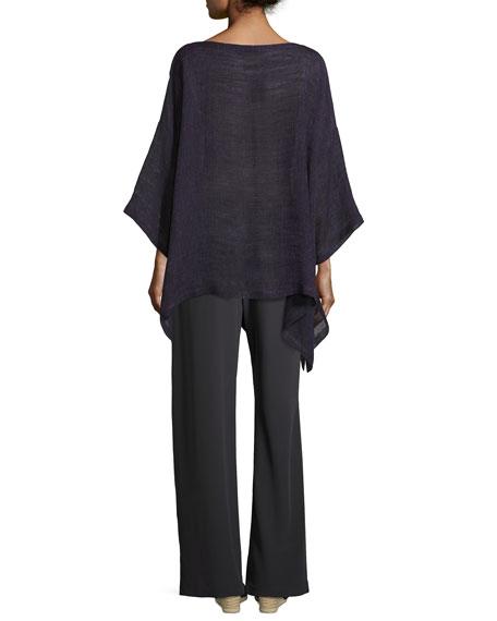 Linen-Blend 3/4-Sleeve Tunic, Purple