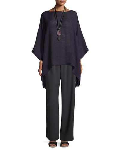 Linen-Blend 3/4-Sleeve Tunic, Purple and Matching Items