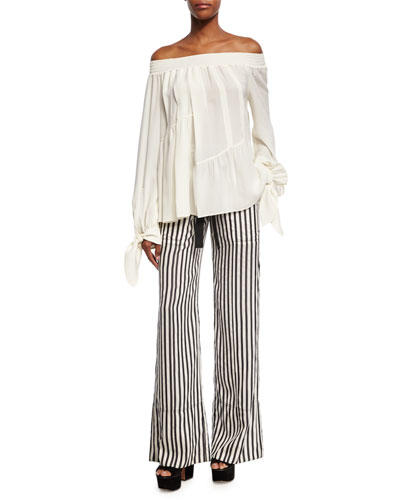Striped Tie-Waist Silk Pajama Pants, Black/White and Matching Items