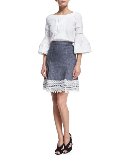 Stretch-Twill Denim Skirt, Navy and Matching Items