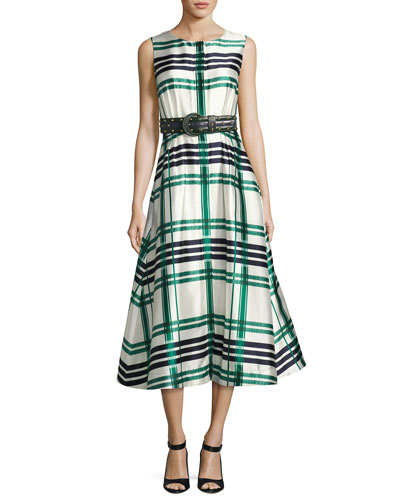 Sleeveless Plaid Sateen Midi Dress, Green and Matching Items