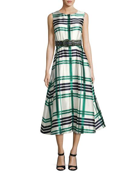 Sleeveless Plaid Sateen Midi Dress, Green