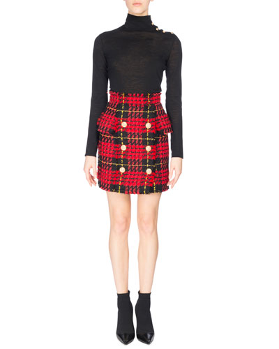 High-Waist Tartan Tweed Skirt, Red/Black and Matching Items