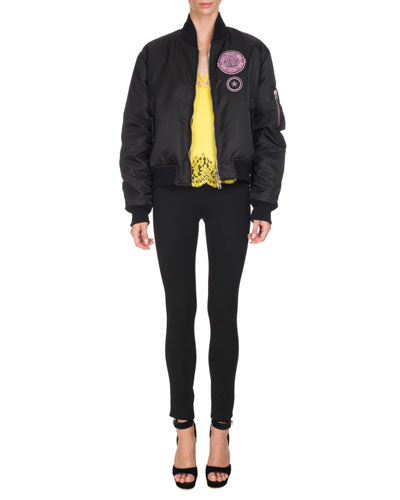 Patch-Embroidered Bomber Jacket, Black and Matching Items