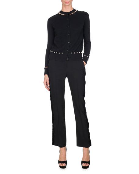 Pearly-Embellished Cardigan, Black
